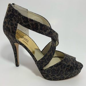 Michael Kors black sequin gold netting heels EUC